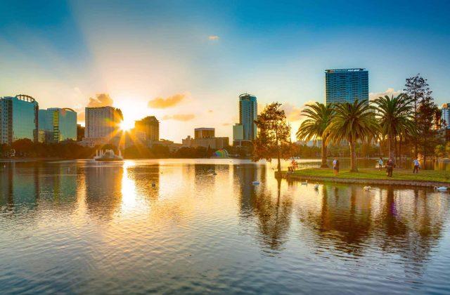 Orlando, Florida, USA, downtown city skyline from Eola Park.